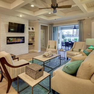 Example of a transitional family room design in Miami