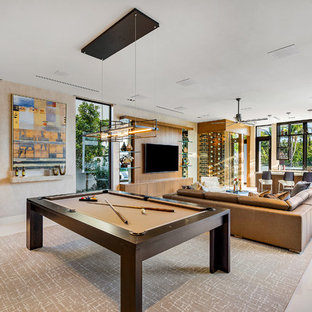 Example Of A Large Trendy Open Concept Marble Floor And White Floor Game  Room Design In