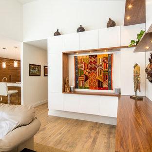 Ispirazione per un grande soggiorno contemporaneo aperto con pareti bianche e parquet chiaro