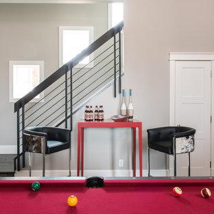 Game room - huge transitional dark wood floor game room idea in Dallas with beige walls