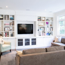 Transitional Family Room by Palmerston Design Consultants