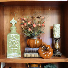 Traditional Family Room Bookcase in Family Room Decorated for Fall
