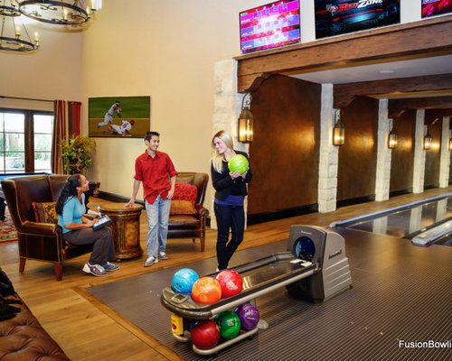 Home Bowling Alley In Rustic Texas Mansion