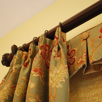Box Pleated Valances with Buttons, Woven Roller Shades & Pleated Panels