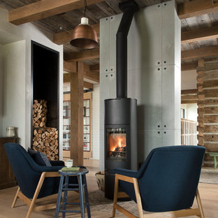 75 Farmhouse Family Room with a Wood Stove Design Ideas - Stylish ...