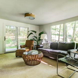 グランドラピッズの広いミッドセンチュリースタイルのおしゃれなロフトリビング (白い壁、カーペット敷き、暖炉なし、壁掛け型テレビ) の写真