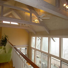 Contemporary Family Room by Hugh Lofting Timber Framing, Inc.