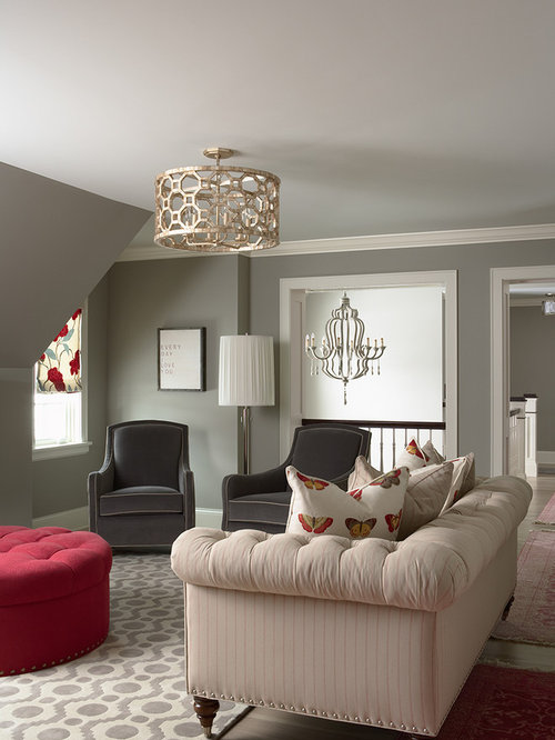 example of a classic medium tone wood floor family room design in minneapolis with gray walls - Light Fixtures Living Room