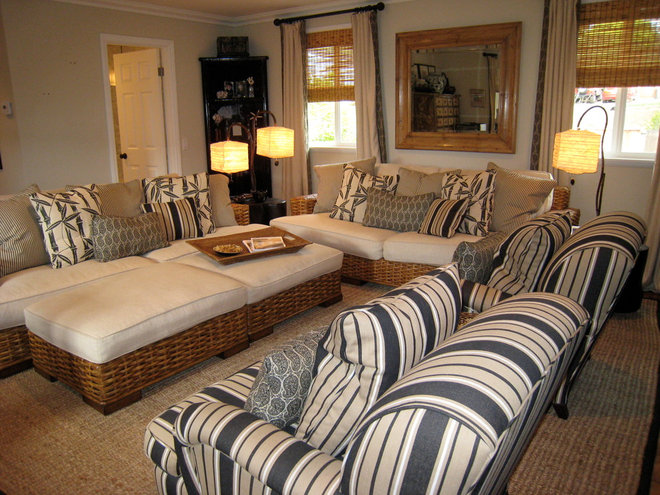 Tropical Family Room by Barbara Grushow Designs LLC