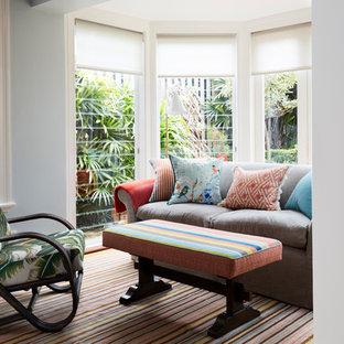 シドニーの中サイズのトロピカルスタイルのおしゃれなファミリールーム (青い壁、カーペット敷き、暖炉なし、テレビなし、マルチカラーの床) の写真