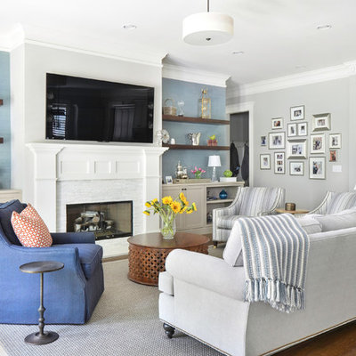 Mid-sized transitional open concept dark wood floor family room photo in Atlanta with a standard fireplace, a stone fireplace, a wall-mounted tv and multicolored walls
