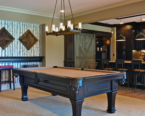 Pool table chandeliers light shop light ideas pool table chandelier houzz traditional medium tone wood floor game room idea in indianapolis with beige aloadofball Gallery
