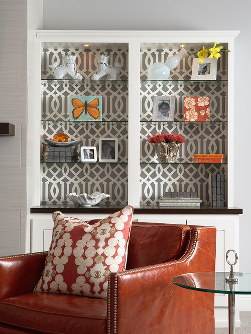 Bookshelf Wallpaper Houzz