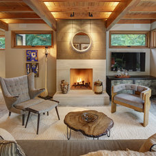 Transitional Family Room by Colby Construction