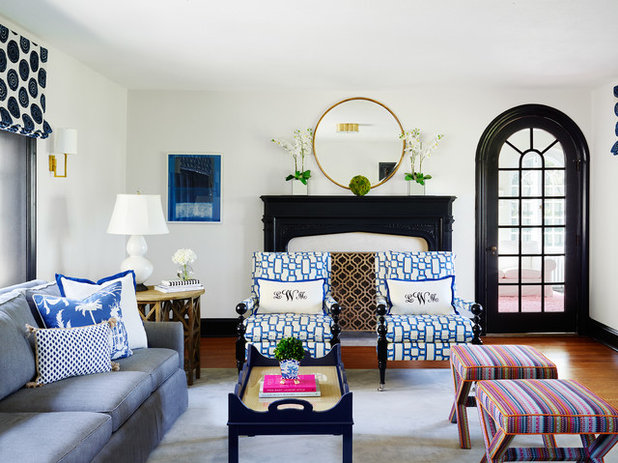 Stephanie Kraus Designs Blue And White Living Room A: New This Week: 3 Ways To Work Around A Living Room Fireplace