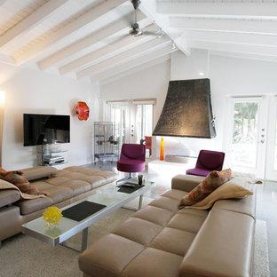 タンパの大きいミッドセンチュリースタイルのおしゃれなファミリールーム (白い壁、コンクリートの床、両方向型暖炉、壁掛け型テレビ、グレーの床) の写真