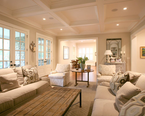Example Of A Cottage Chic Family Room Design In Atlanta With Beige Walls