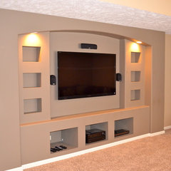 modern media room by Anthony Company Builders LLC