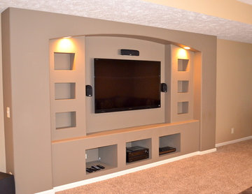 Built-in drywalled entertainment center