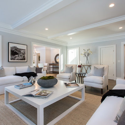 Family room - transitional dark wood floor family room idea in New York with gray walls
