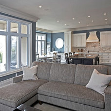 Transitional Family Room by RS Field Design Inc.