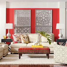 Eclectic Family Room by BARBARA SCHAVER DESIGNS