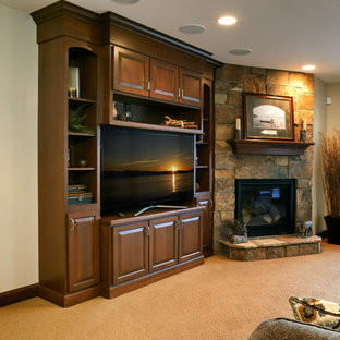 Mid-sized mountain style open concept carpeted and beige floor family room photo in DC Metro with white walls and a tv stand