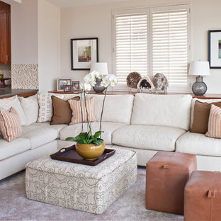 Family room - contemporary open concept family room idea in Los Angeles with white walls