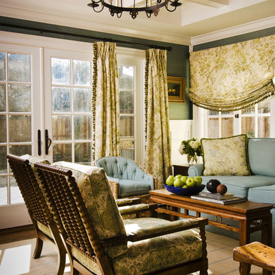 Inspiration for a timeless family room remodel in San Francisco with green walls