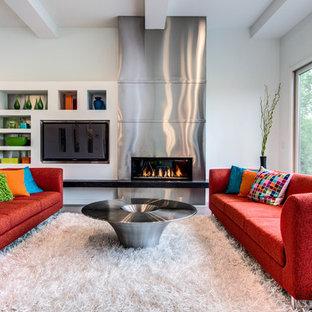 Foto di un soggiorno minimalista aperto con pareti bianche, camino lineare Ribbon e parete attrezzata