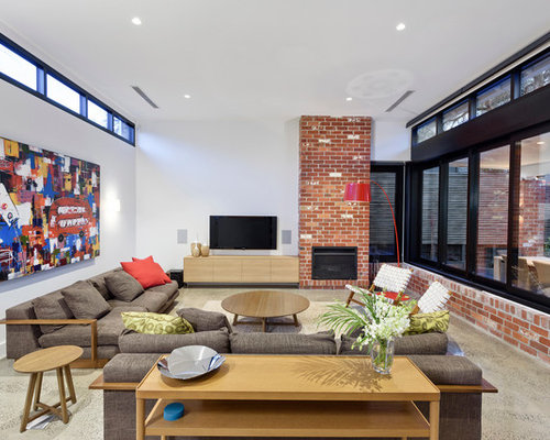 Design Ideas For A Contemporary Family Room In Melbourne With White Walls,  A Standard Fireplace Part 54
