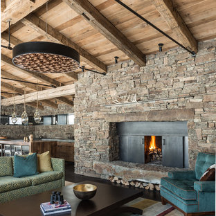Inspiration For A Rustic Open Concept Family Room Remodel In Other With Standard Fireplace And