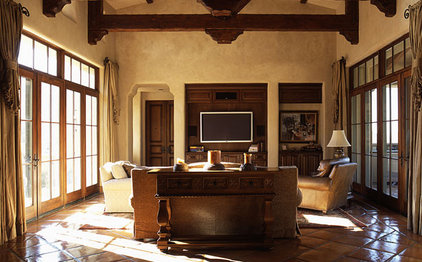 Mediterranean Family Room by Candelaria Design Associates