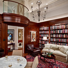 Transitional Family Room by DesRosiers Architects