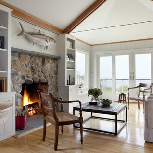 Beach style family room photo in Boston