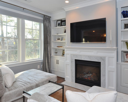 Inspiration For A Timeless Family Room Remodel In DC Metro With Gray Walls Standard