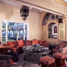 Tropical Family Room by Bruce Palmer Coastal Design