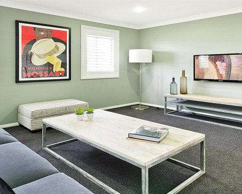 soggiorno con pareti verdi central coast - foto e idee per arredare - Soggiorno Pareti Verdi 2