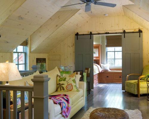 Rustic Loft Style Family Room Idea In Atlanta With Beige Walls
