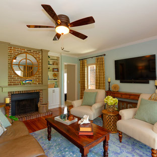 Inspiration For A Mid Sized Eclectic Enclosed Medium Tone Wood Floor Family Room Remodel In
