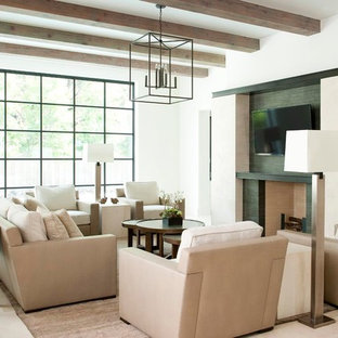 Inspiration for a contemporary open concept family room remodel in Dallas with white walls, a standard fireplace, a stone fireplace and a wall-mounted tv