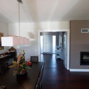 マドリードの中サイズのコンテンポラリースタイルのおしゃれな独立型ファミリールーム (ゲームルーム、ベージュの壁、濃色無垢フローリング、標準型暖炉、レンガの暖炉まわり、据え置き型テレビ) の写真