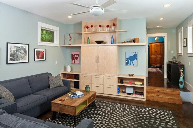 Contemporary Family Room by Merzbau Design Collective