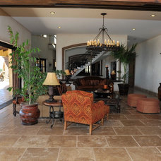 Mediterranean Family Room by Wendy Zolezzi Design