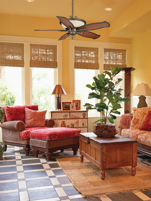 Example Of An Island Style Family Room Design In Miami With Beige Walls