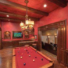 Mediterranean Family Room by Gary Keith Jackson Design Inc
