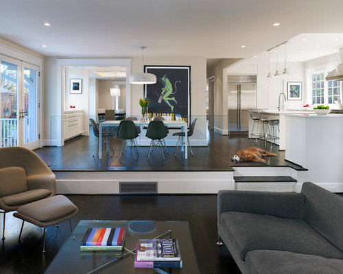 Example Of A Trendy Open Concept Family Room Design In DC Metro With Dark  Wood Floors