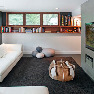 Trendy family room photo in Omaha with gray walls