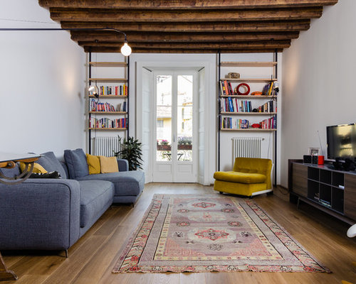 industrial living room decor. Inspiration for an industrial formal medium tone wood floor living room  remodel in Milan with white 25 Best Industrial Living Room Ideas Remodeling Photos Houzz