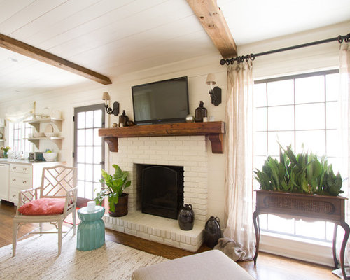 Living Room Ideas With Brick Fireplace And Tv painted brick fireplace ideas | houzz